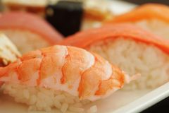 Sushi set on white plate Royalty Free Stock Photography