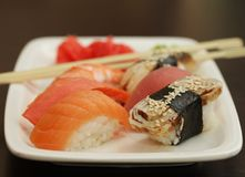 Sushi set on white plate Stock Image