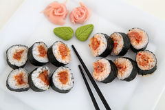 Sushi set on white plate. Traditional japanese food Royalty Free Stock Photos