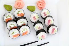 Sushi set on white plate. Traditional japanese food Royalty Free Stock Photo