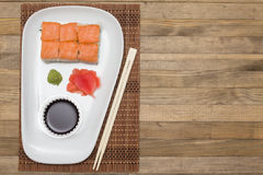 Sushi  set on white plate with wasabi and  ginger Stock Photos