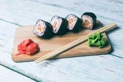 Sushi set on a wooden tray Stock Images