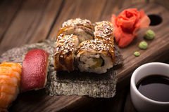 Sushi set on a wooden tray Stock Image