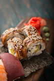 Sushi set on a wooden tray Royalty Free Stock Photography