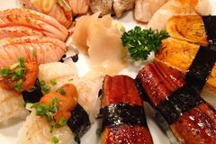 Sushi set. For your dinner so delicious and good taste because it's from fresh fish Royalty Free Stock Photo