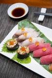 Sushi sets japanese food in restaurant Stock Photography
