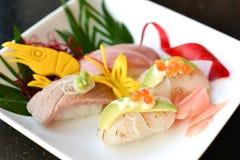 Sushi Sets. O-Toro , Hotate aburi ,Chu-Toro Royalty Free Stock Photography