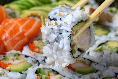 Sushi, shallow focus. Sushi rolls with salmon and avacado, shallow focus stock images