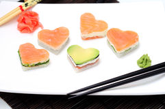 Sushi in the shape of a heart Valentines Day Stock Images