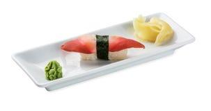 Sushi with shellfish.Isolated on white Royalty Free Stock Photo