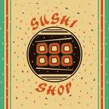 Sushi shop. Flat emblem for Sushi shop Royalty Free Stock Photos