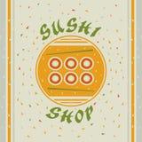 Sushi shop. Flat emblem for Sushi shop Royalty Free Stock Photo