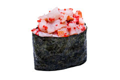 Sushi with shrimp and caviar in nori leaf isolated on white back Royalty Free Stock Photos