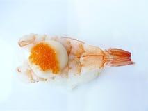 Sushi shrimp and flying fish roe with mayonnaise Royalty Free Stock Photo