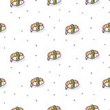 Sushi shrimp seamless vector pattern. Japanese food cartoon background vector illustration