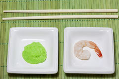Sushi shrimp and wasabi Royalty Free Stock Photo
