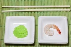 Sushi shrimp and wasabi Royalty Free Stock Photo