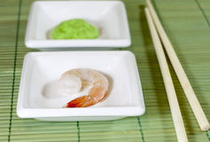 Sushi shrimp and wasabi Stock Photos