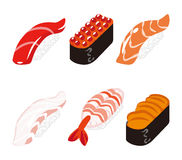 Sushi Six Objects set Royalty Free Stock Image