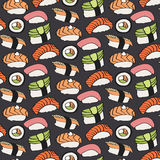 Sushi sketch. Seamless pattern with hand-drawn cartoon japanese food icon - sushi with fish and avocado. Vector. Sushi sketch. Seamless pattern with hand-drawn Royalty Free Stock Photography