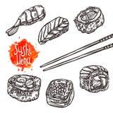 Sushi skizzieren gesetztes Sushi-Menü Stockbilder