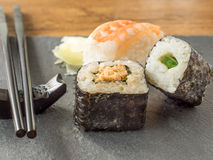 Sushi on a slate Royalty Free Stock Photos