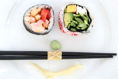 Sushi smile. With ginger and wasabi Stock Image