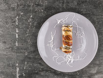 Sushi with smoked eel in gray plate Royalty Free Stock Photos