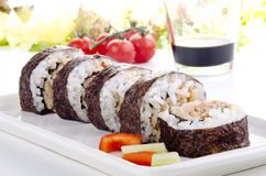 Sushi and soy sauce Stock Images