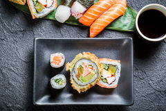 Sushi with soy sauce Stock Images