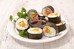Sushi and soy sauce Royalty Free Stock Image
