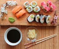 Sushi with soy sauce Royalty Free Stock Photo