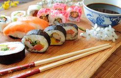 Sushi with soy sauce Royalty Free Stock Photos