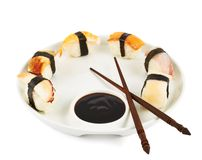 Sushi with soy sauce on a plate Stock Photography
