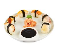 Sushi with soy sauce on a plate Royalty Free Stock Image