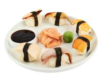 Sushi with soy sauce on a plate Royalty Free Stock Photography
