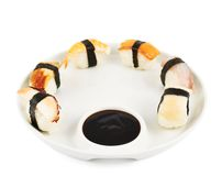 Sushi with soy sauce on a plate Royalty Free Stock Photos