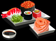 Sushi on square plates on black background, vector illustration. Sushi set on square plates, with ginger and soy sauce. On a black background. Vector Royalty Free Stock Image