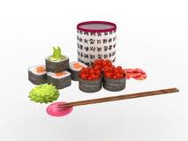 Sushi stellten mit roten Fischen mit Wasabi und Ingwer auf einem weißen Hintergrund ein Lizenzfreies Stockfoto