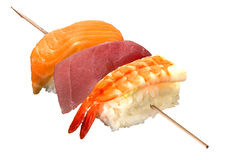 Sushi in stick. Different sushi in one roll Stock Photography
