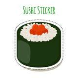 Sushi sticker, asian food with caviar, rice - label. Vector illustration. Sushi sticker, asian food with fish, rice, seaweed, caviar label. Made in cartoon flat Royalty Free Stock Photos