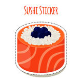 Sushi sticker, asian food with caviar, rice - label. Vector illustration Royalty Free Stock Photo