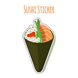 Sushi sticker, asian food with fish, rice label. Vector illustration. Sushi sticker, asian food with fish, rice, seaweed, caviar label. Made in cartoon flat Royalty Free Stock Images