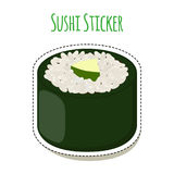 Sushi sticker, asian food with fish, rice, seaweed - label. Vector illustration Stock Image
