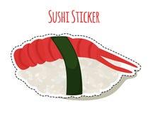 Sushi sticker, asian food with shrimp, rice label. Vector illustration. Sushi sticker, asian food with shrimp, rice, seaweed, caviar label. Made in cartoon flat Stock Photos