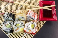 Sushi, sticks and soy sauce fish. Sushi, sticks and soy sauce stock photography