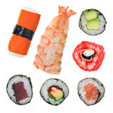 Sushi Styles. Sushi maki and roll. Japanese cuisine Royalty Free Stock Images