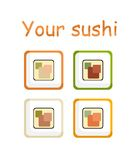 Sushi stylized. Stylized collection of sushi icons Stock Image