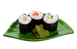 Sushi su un foglio Fotografie Stock