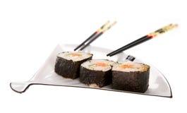 Sushi su un piatto Fotografia Stock